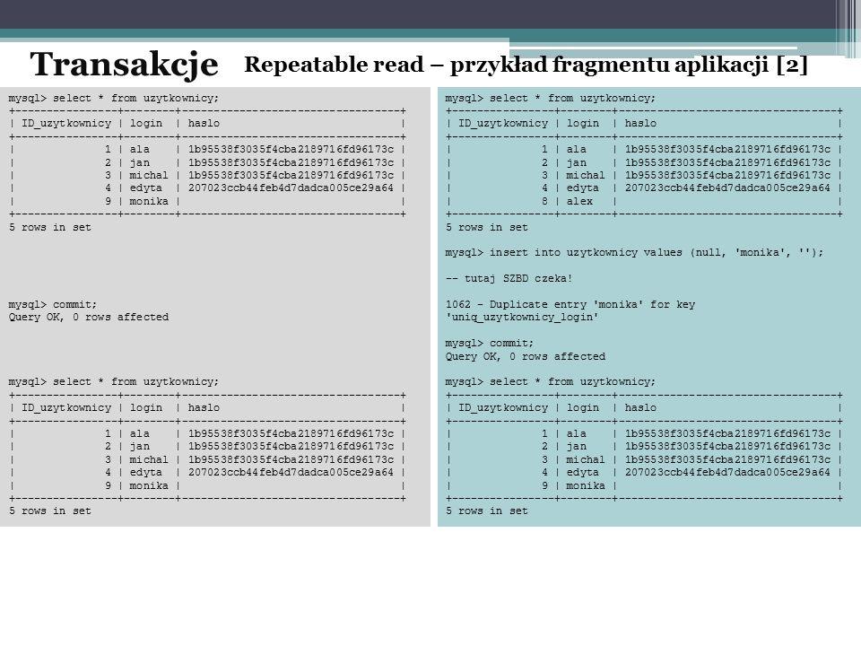 Transakcje Repeatable read – przykład fragmentu aplikacji [2]